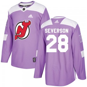 New Jersey Devils Damon Severson Official Purple Adidas Authentic Adult Fights Cancer Practice NHL Hockey Jersey
